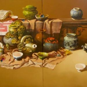 Still-life with antique pots & cups 03 -Original Vietnamese Art