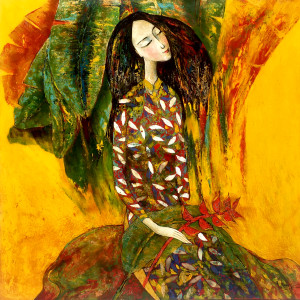 lady with banana flower-80x80